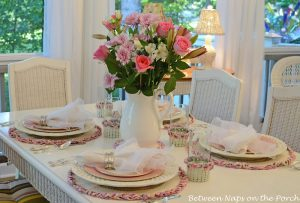 Mother's Day Tablescape with Floral Centerpiece