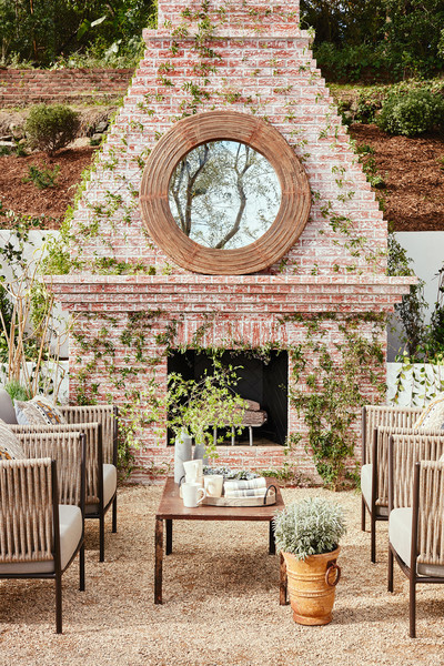 Outdoor Fireplace with Mirror, Home of Julianne Hough