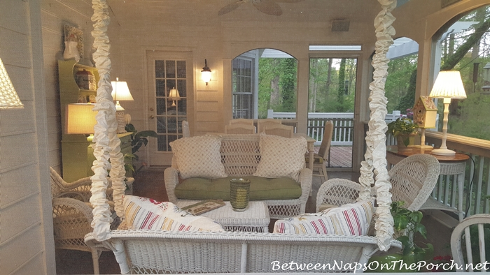 Screened Porch with Wicker Swing