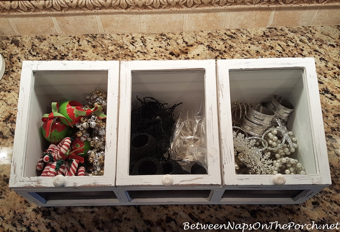 Wood and Glass Bins, Napkin Ring Storage