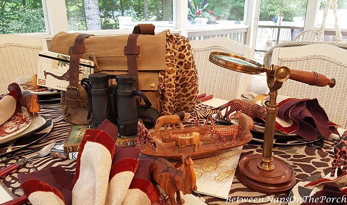 African Safari Table Setting with Safari Themed Centerpiece