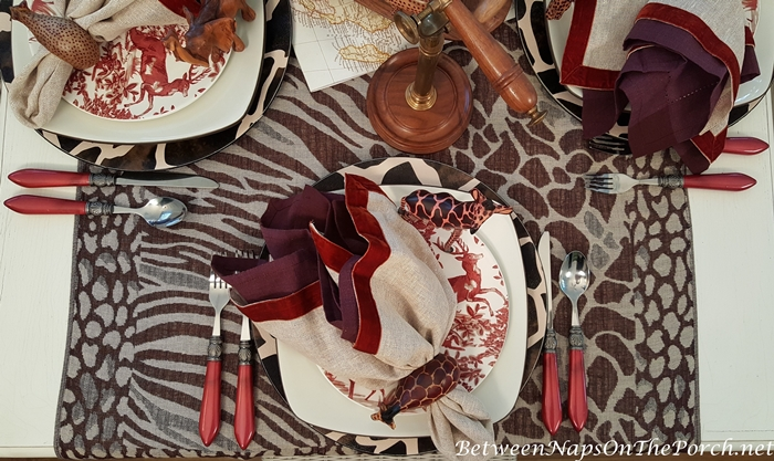 African Safari Table with Animal Themed Table Runner