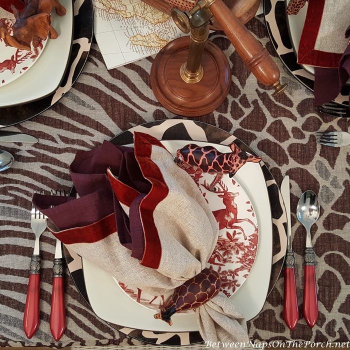 African Style Scarf Wrap in Safari Themed Table Setting