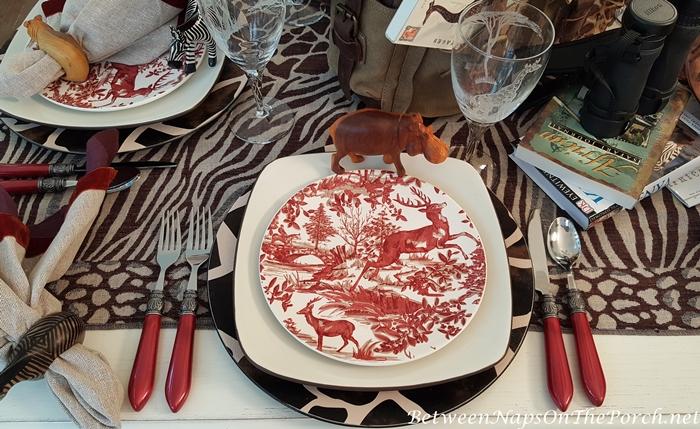 Alpine Toile Salad Plates in a Safari Table Setting