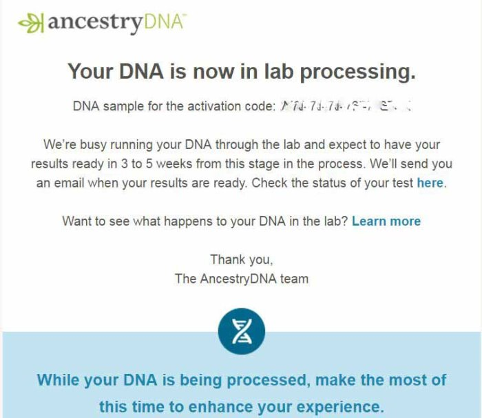 Ancestry DNA Email Notification