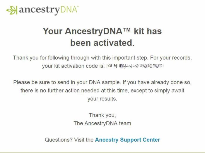 Ancestry DNA Notification Email