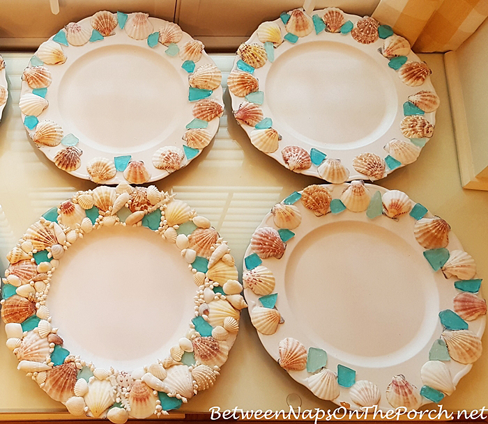 Beach Charger Plates, Shell & Seaglass