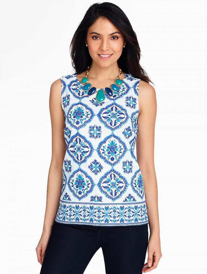 Blue White Top for Summer