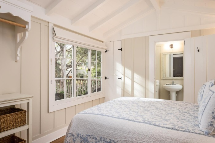 Carmel by the Sea Cottage Bedroom with Board & Batten Wainscoting
