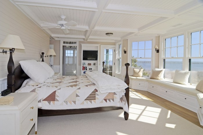 Coffered Ceiling, Window Seat in Seaside Home in Fenwick, Old Saybrook