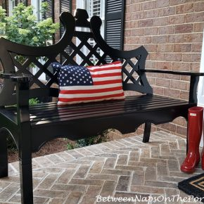 Flag Pillow, Black Bench, Red Hunter Boots