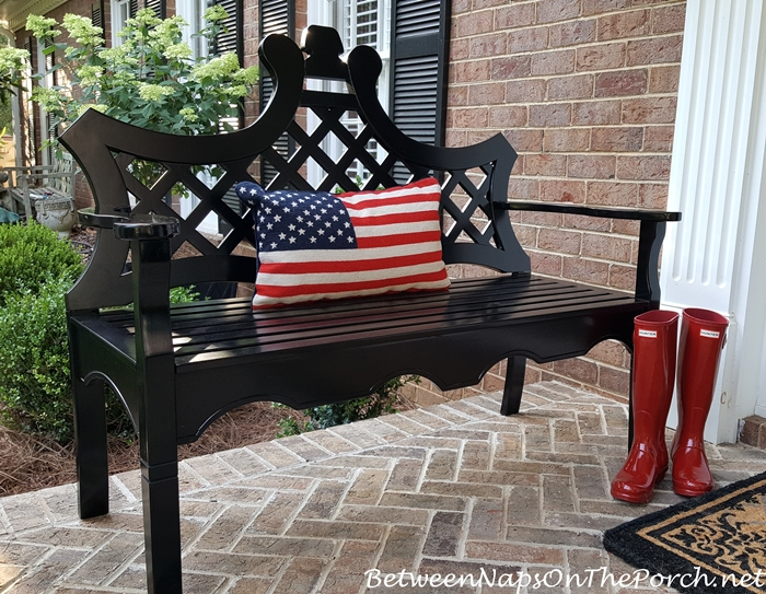 Flag Pillow for Bench, Front Porch