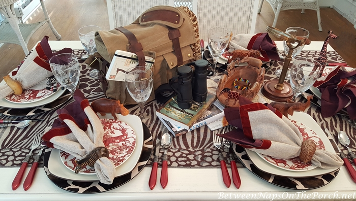 Giraffe Chargers, Animal Napkin Rings, Giraffe Glasses, Safari Tablescape