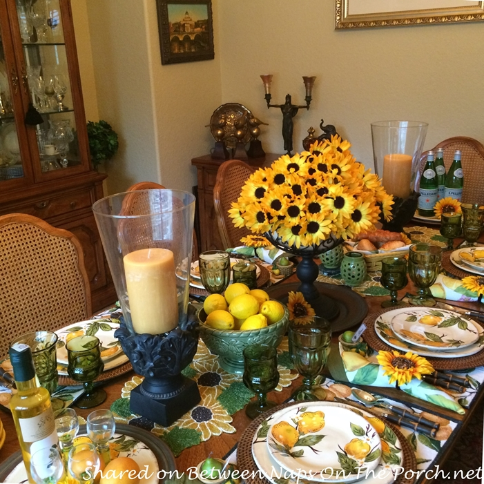 Lemon Themed Table with Lemon Plates, Sunflower Centerpiece, Sunflower Napkin Rings & Limoncello