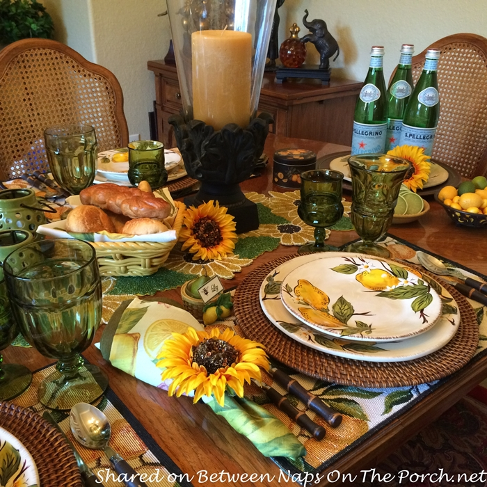 Limoncello Tablescape with Lemon Dinnerware and Sunflower Accents