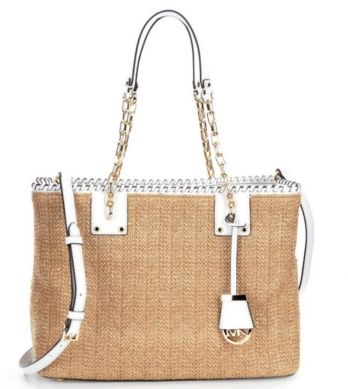 Michael Kors Straw Tote In White