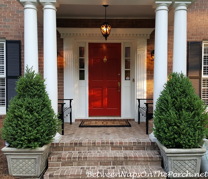 Porch with Red Door & Grandinroad Black Benches