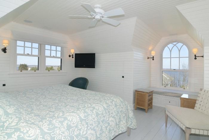 Romantic Attic Bedroom with Window Seat, Seaside Beach Home
