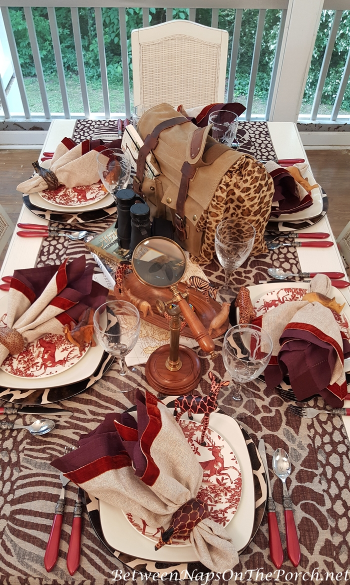 Safari Table Setting with Noritake Colorwave and Alpine Toile Dinnerware