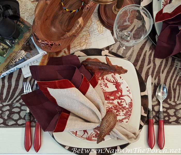 Safari Table Setting with Velvet Edged Linen Napkins