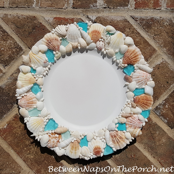 Shell Charger Plate with Blue Sea Glass