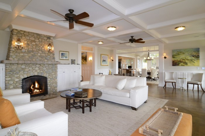 Stacked Rock Fireplace, Seaside Home, Old Saybrook
