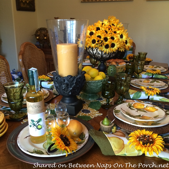 Sunshine Lemon Table Setting with Pier 1 Lemon Dishware