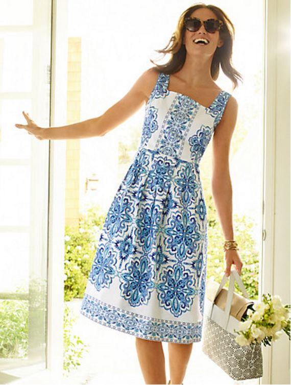 Talbots Blue and White Dress