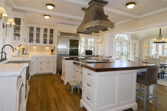 White Kitchen, Marble and Wood Countertops, Seaside Home in Fenwick