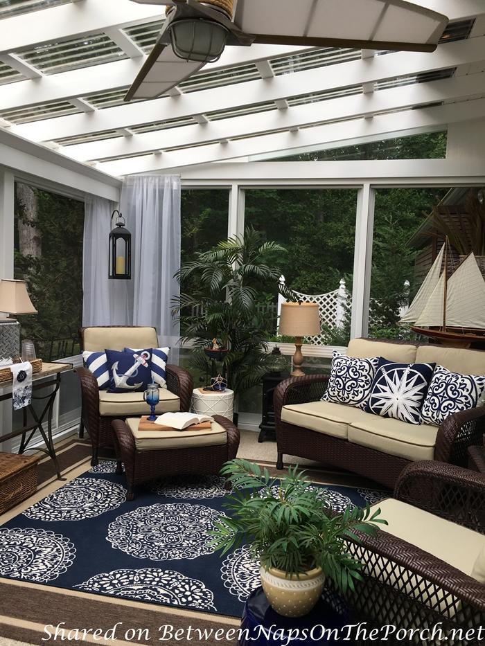 3 Season Porch, Blue & White Nautical Decor, Garden Stool