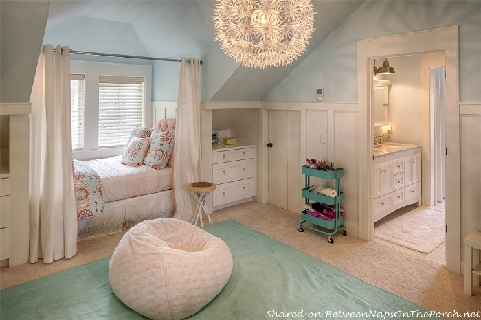 Attic bedroom with dormer windows, built-in beds and cabinetry_wm