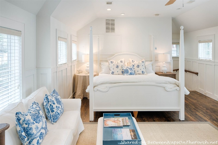 Beautiful blue & white bedroom, Palmetto Bluff, Historical Concepts Home_wm