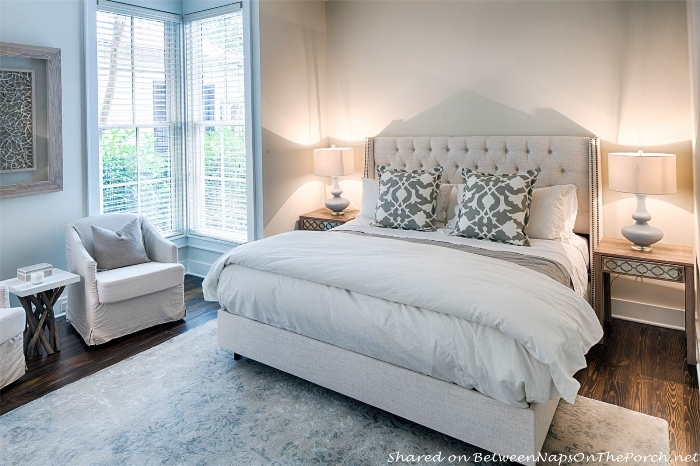 Bedroom in neutral colors of gray, cream, oatmeal linen colors_wm