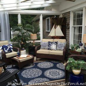 Blue & White Medallion Rug for the Porch