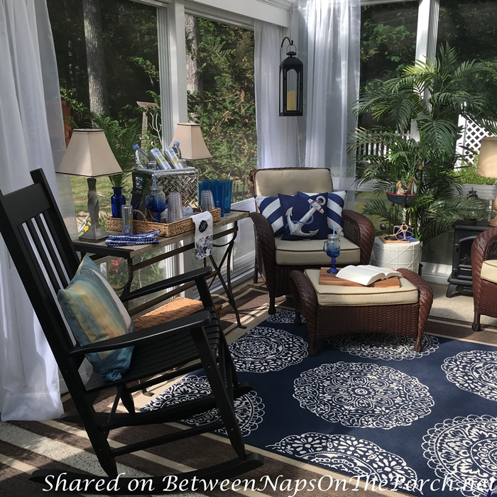 Blue & White Nautical Decorating Ideas for 3-Season Porch