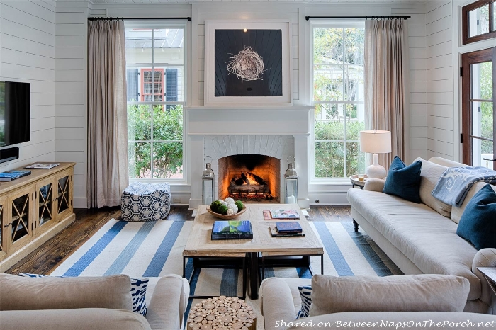 Blue & White Striped Rug for Coastal Beach Home_wm