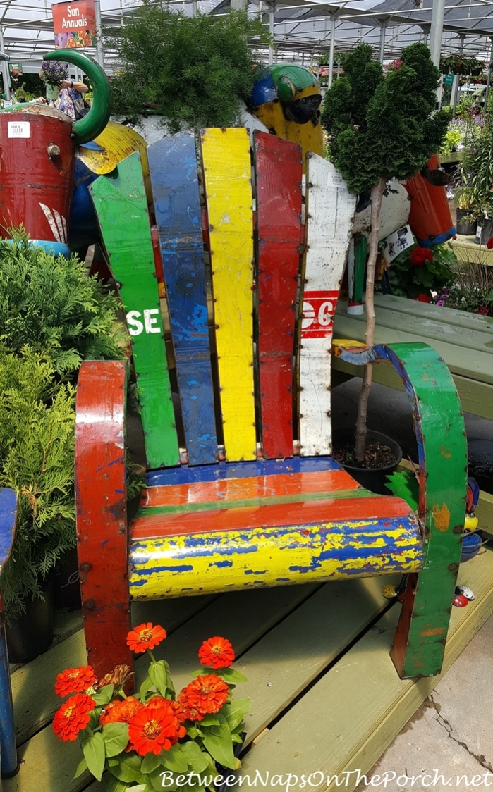 Colorful Rustic Metal Adirondack Chair