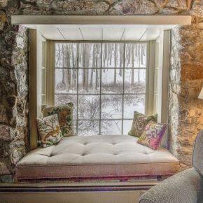 Cozy window seat in historic 1730 stone cottage