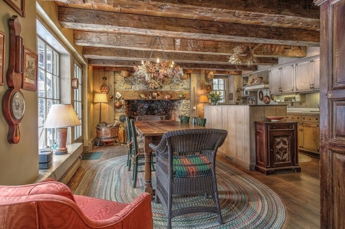 Kitchen with Viking Stove, Subzero Refrigerator in Historic Stone Cottage