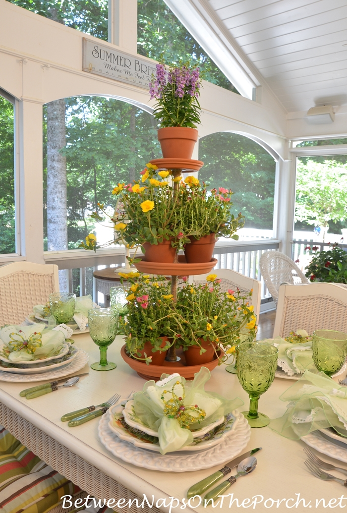 Make a Tiered Terra Cotta Centerpiece for a Garden Party