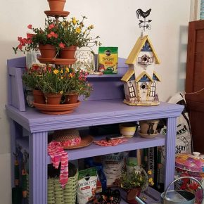 Periwinkle Potting Bench With Three Shelves