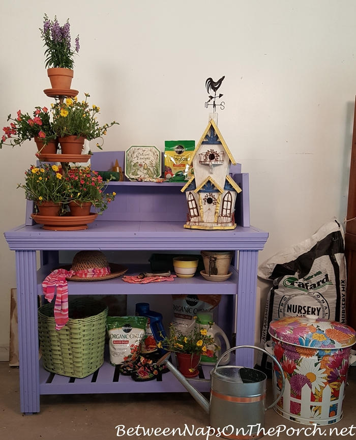 Periwinkle Potting Bench for Gardening