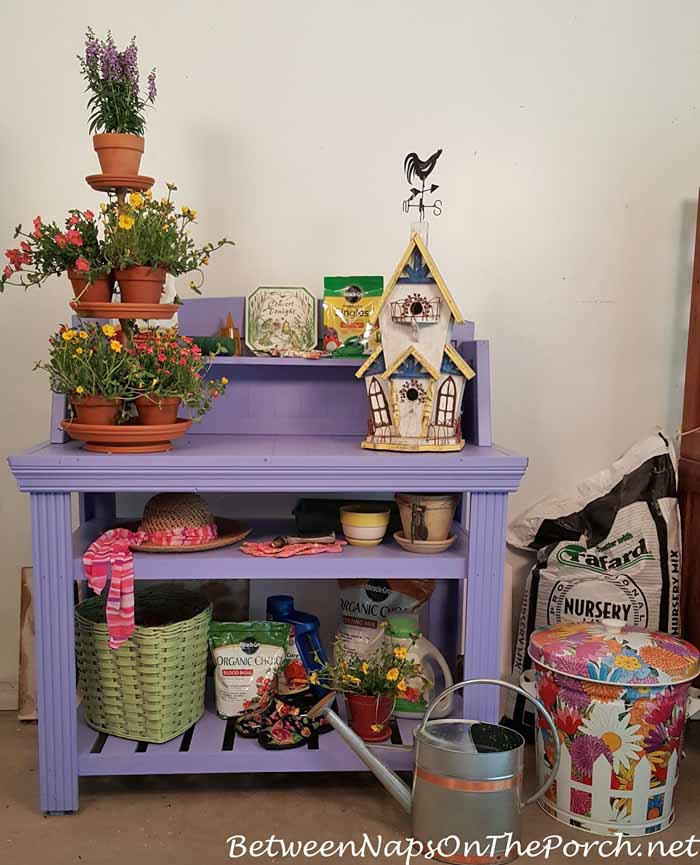 Periwinkle Potting Bench for Potting up Flowers for the Garden