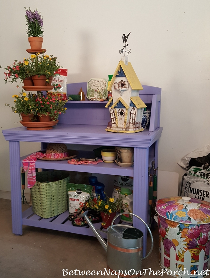 Perwinkle Painted Potting Bench