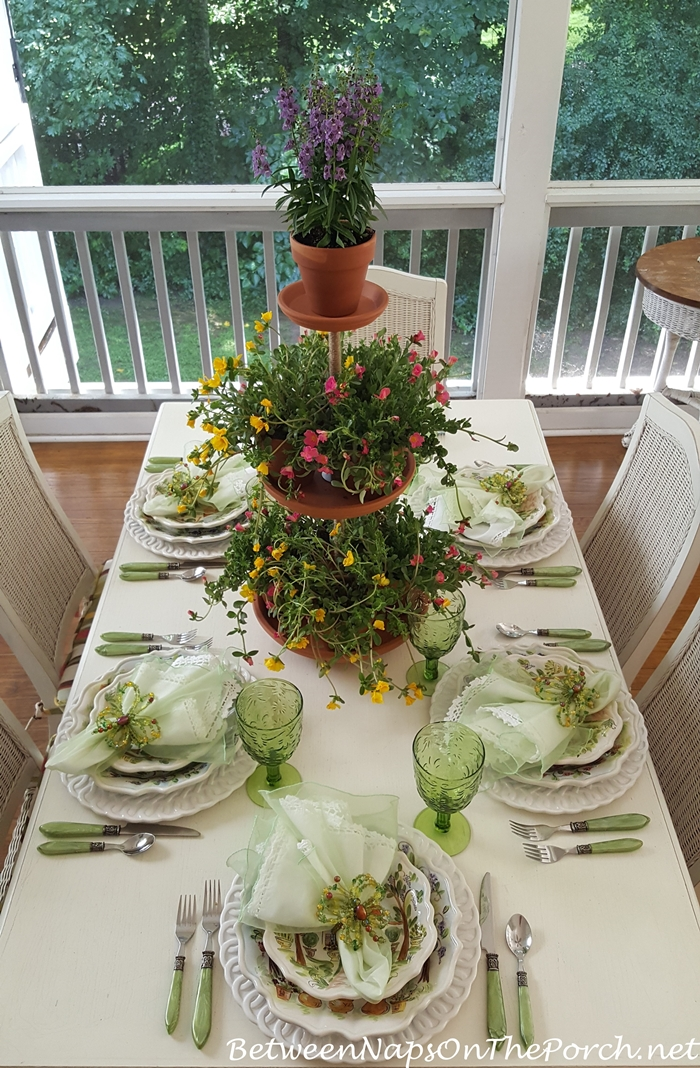 Spring Table with 3-Tiered Planter Centerpiece