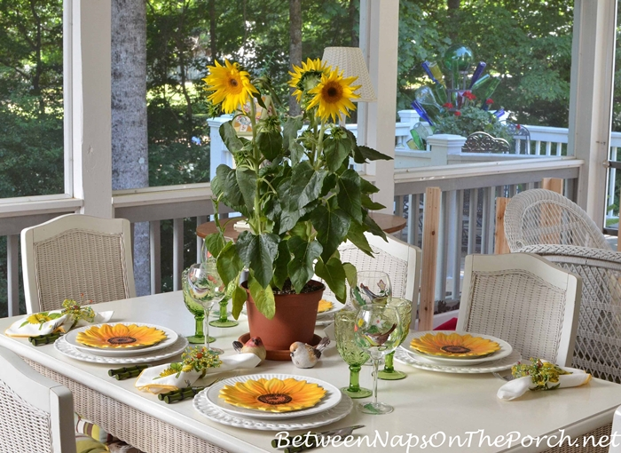 Sunflower Centerpiece for a Spring Table Setting
