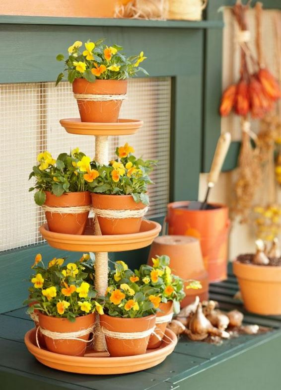 Tiered Planter with Pansies