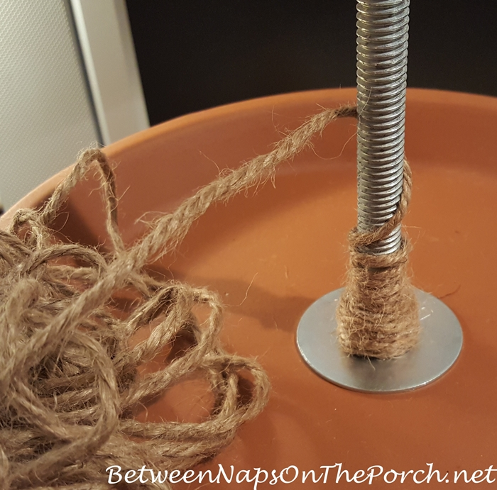 Wrap Sisal or Jute Yarn Around Rod for Tiered Planter Made with Clay Saucers
