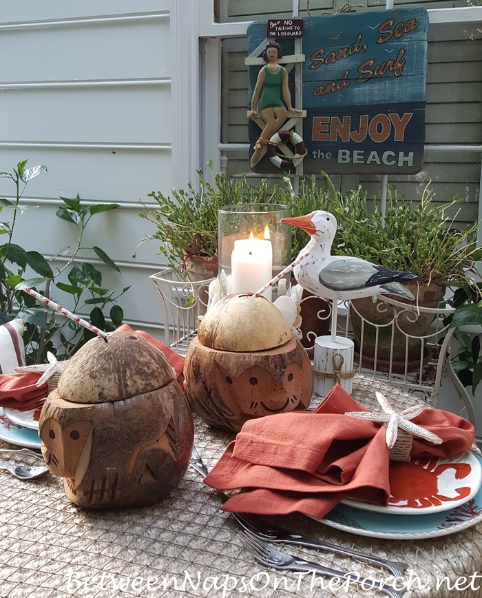 Beach Table Setting for Two, Summer Dining