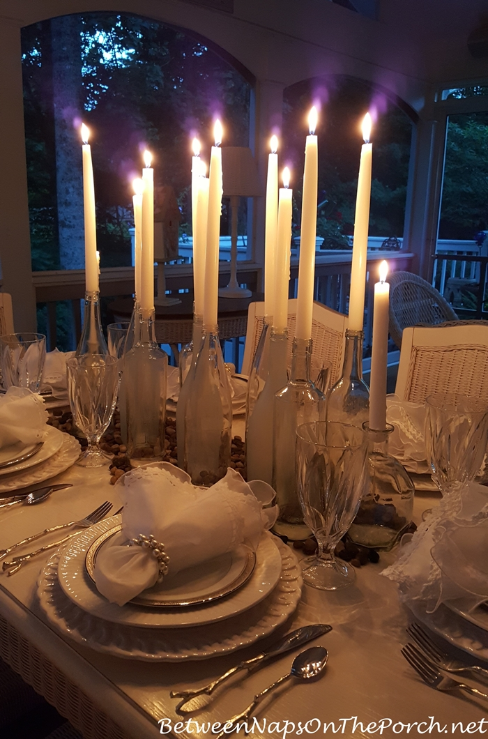 Candlelight Centerpiece for Evening Dining on the Porch